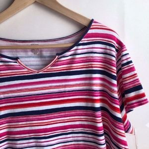 ANNE KLEIN SPORT Red White Pink Navy Striped Tee